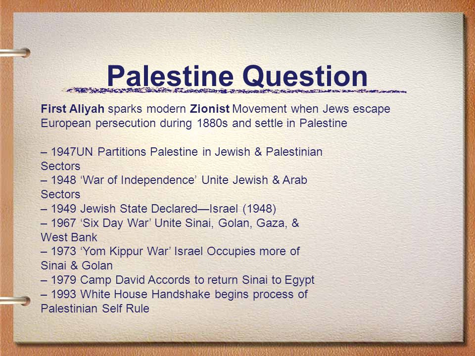 Palestine Question First Aliyah sparks modern Zionist Movement when Jews escape European persecution during 1880s and settle in Palestine.