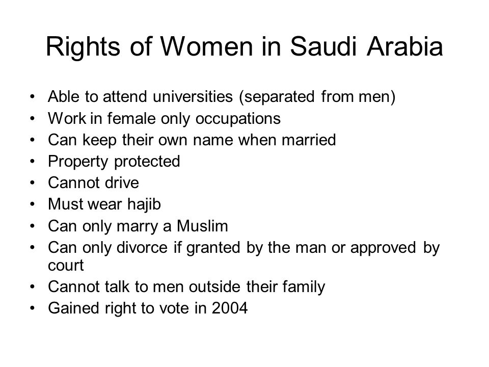 Rights of Women in Saudi Arabia