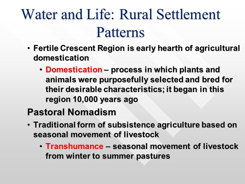 Water and Life: Rural Settlement Patterns