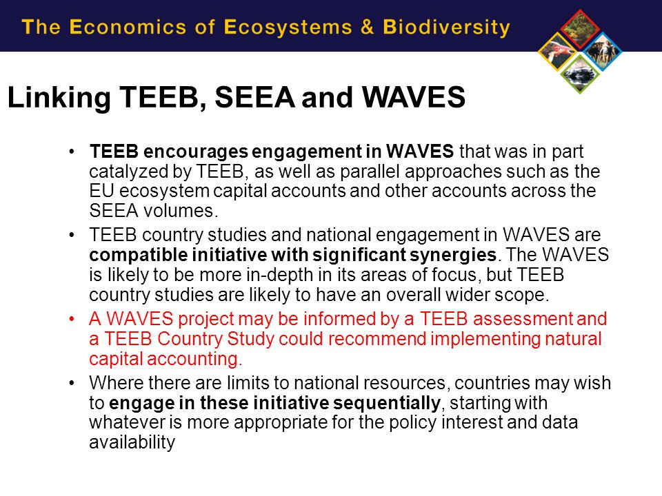 Linking TEEB, SEEA and WAVES