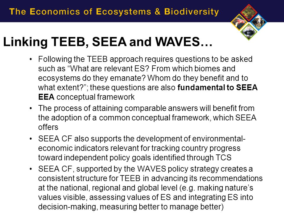 Linking TEEB, SEEA and WAVES…