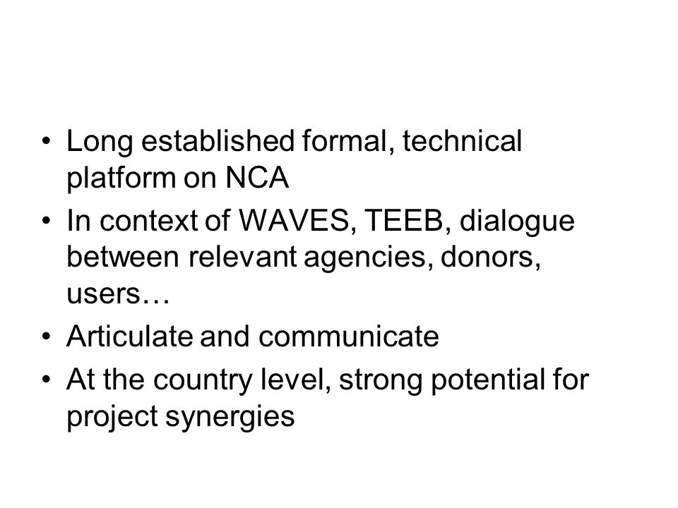 Long established formal, technical platform on NCA