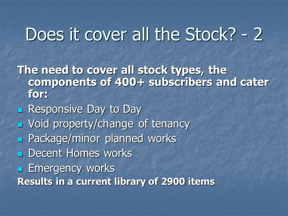 Does it cover all the Stock - 2