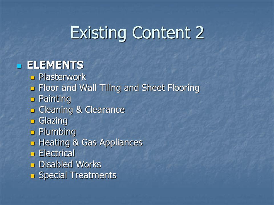 Existing Content 2 ELEMENTS Plasterwork