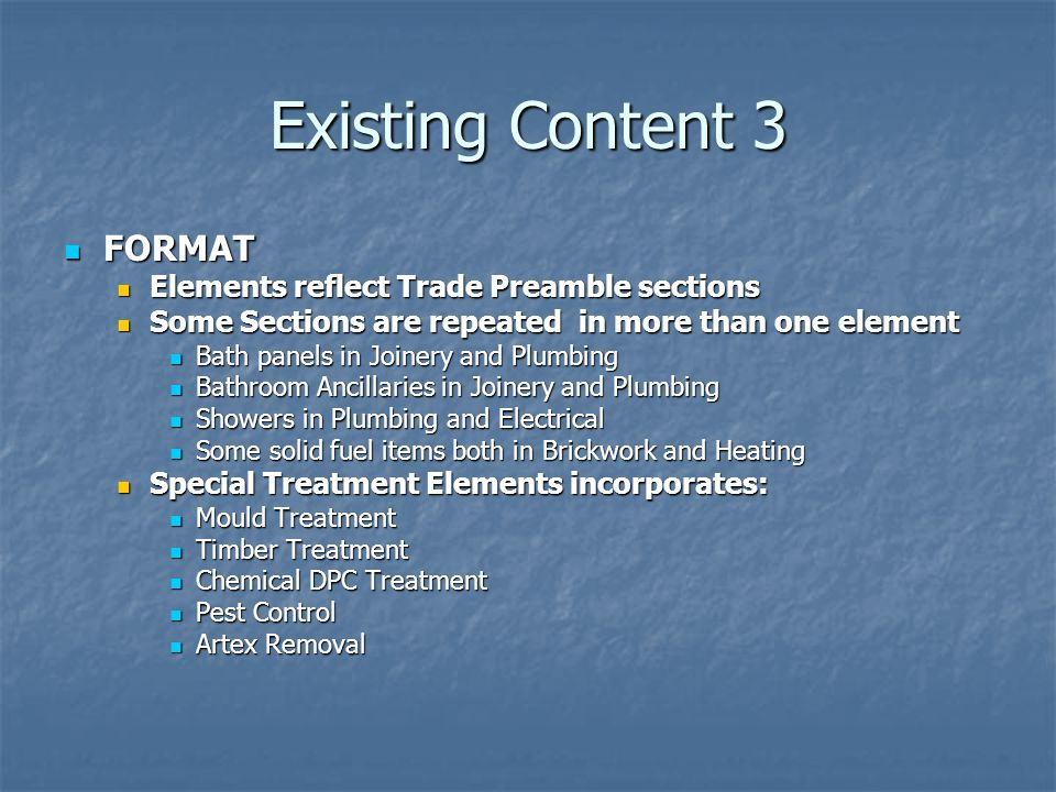 Existing Content 3 FORMAT Elements reflect Trade Preamble sections