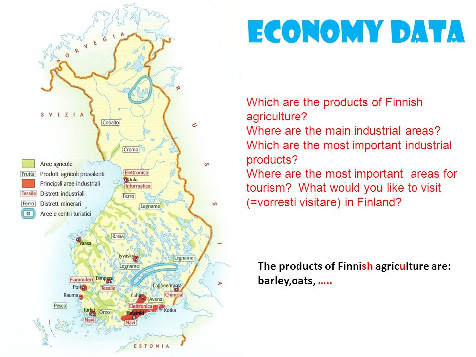 Economy data Which are the products of Finnish agriculture