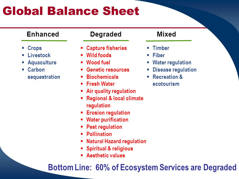 Global Balance Sheet Enhanced. Degraded. Mixed. Crops. Livestock. Aquaculture. Carbon sequestration.