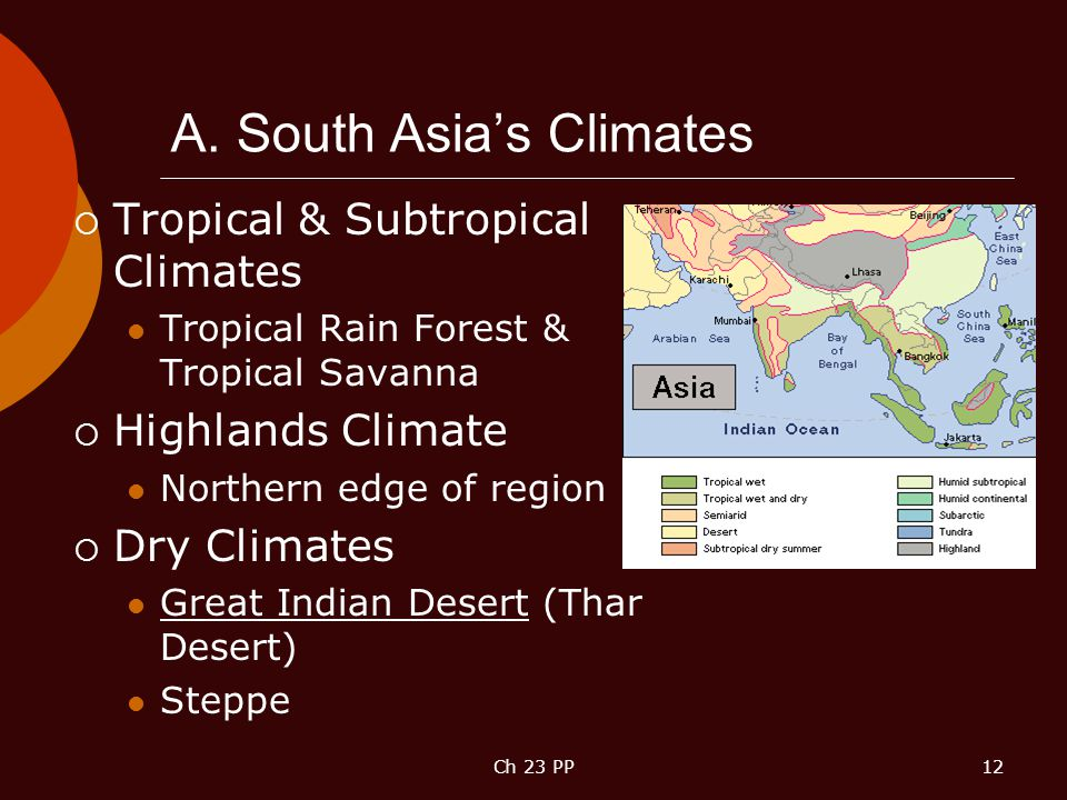 A. South Asia's Climates