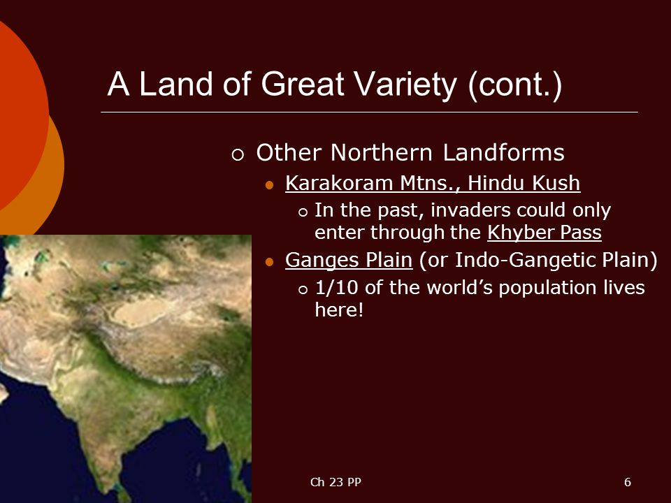 A Land of Great Variety (cont.)