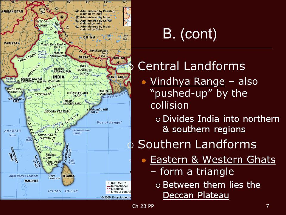 B. (cont) Central Landforms Southern Landforms