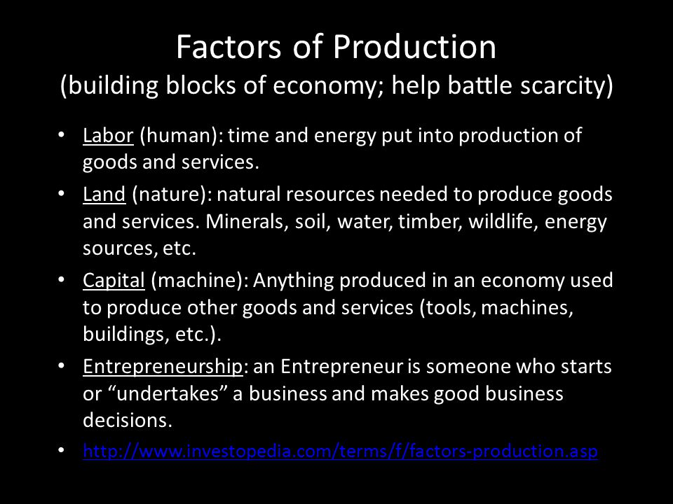 Factors of Production (building blocks of economy; help battle scarcity)