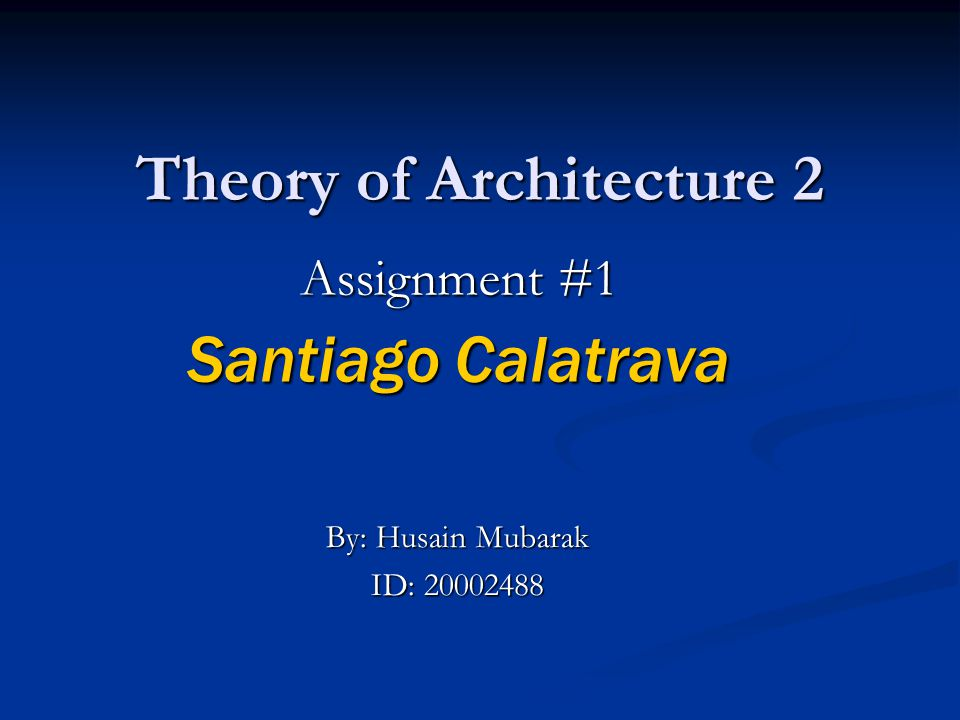 Theory of Architecture 2