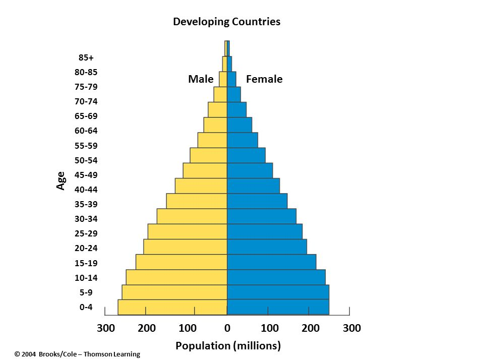 Population (millions) © 2004 Brooks/Cole – Thomson Learning