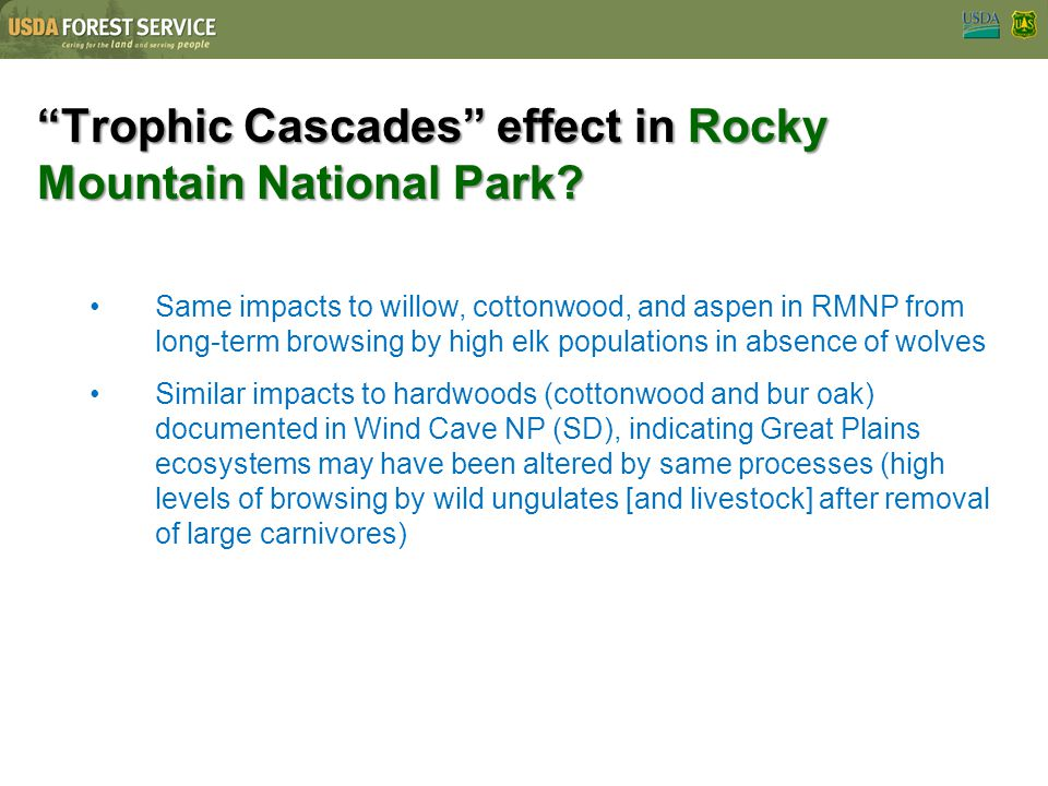 Trophic Cascades effect in Rocky Mountain National Park