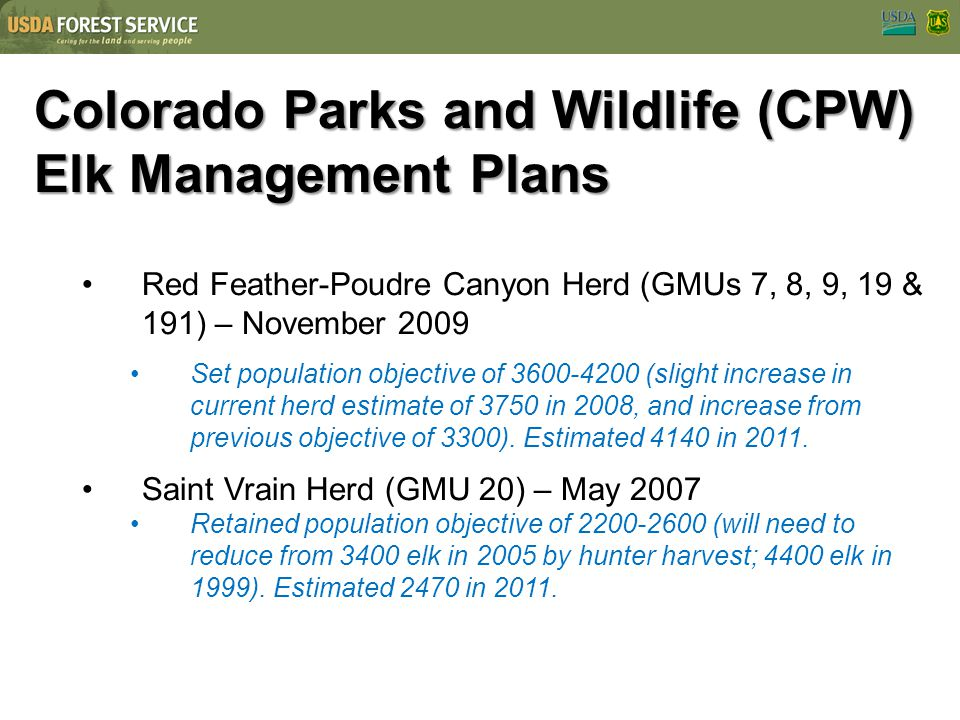 Colorado Parks and Wildlife (CPW) Elk Management Plans