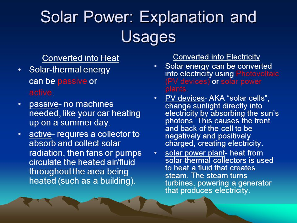Solar Power: Explanation and Usages