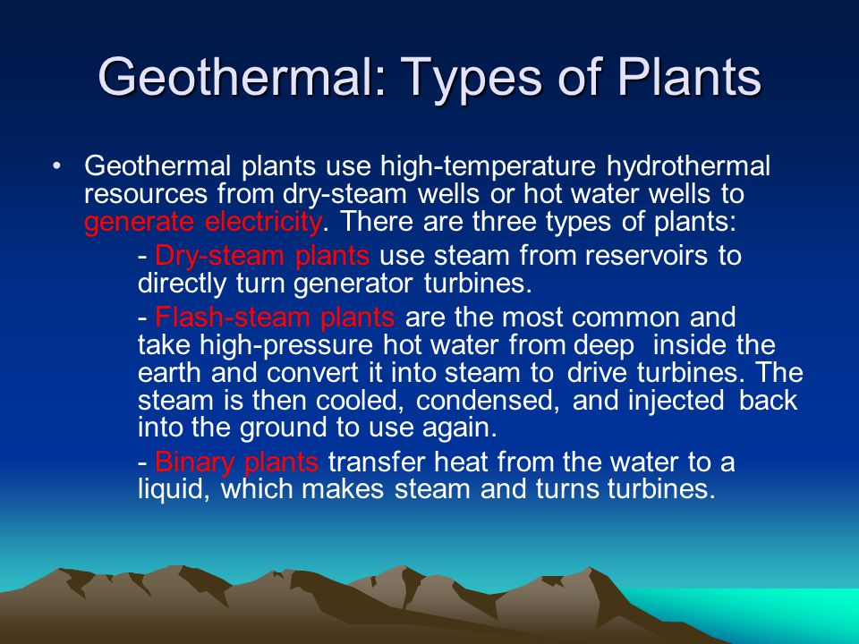 Geothermal: Types of Plants