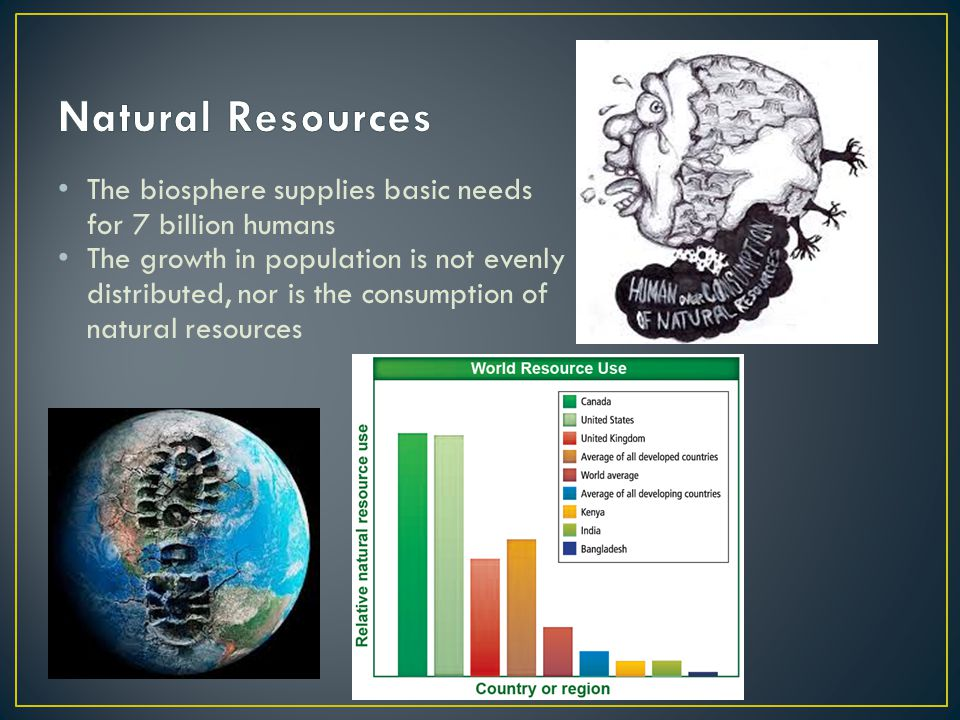 Natural Resources The biosphere supplies basic needs for 7 billion humans.