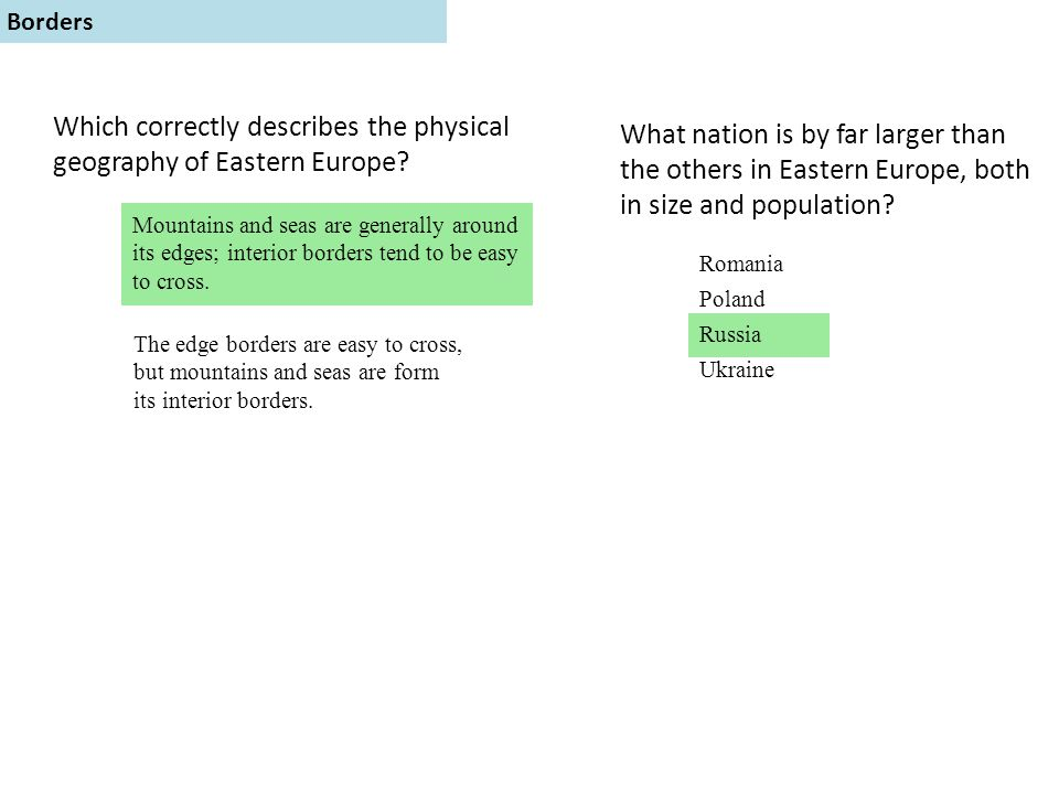 Which correctly describes the physical geography of Eastern Europe