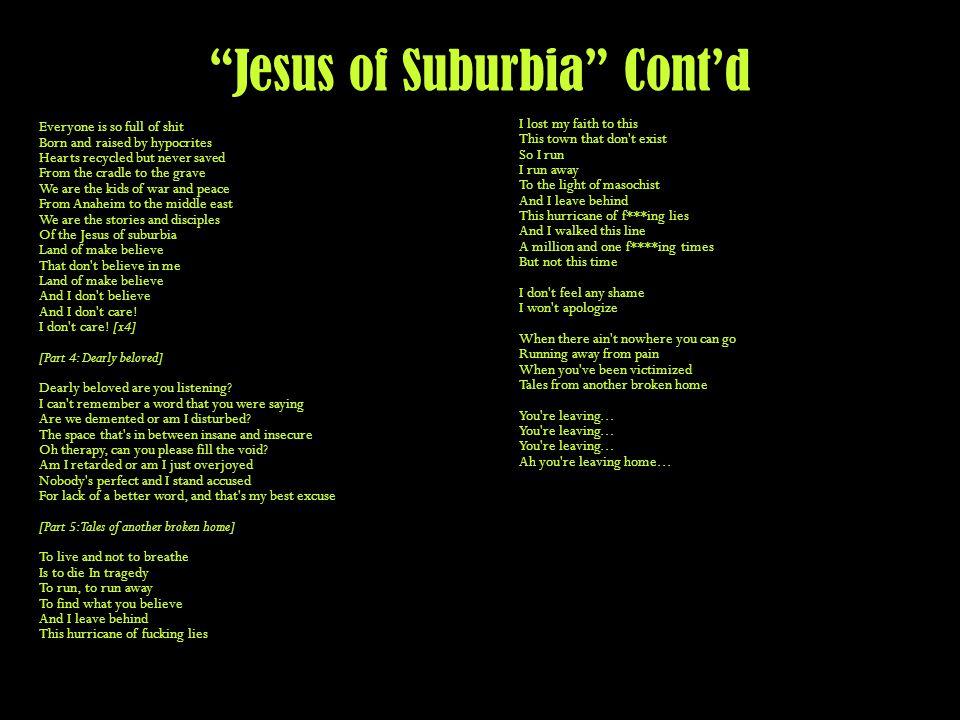 Jesus of Suburbia Cont'd