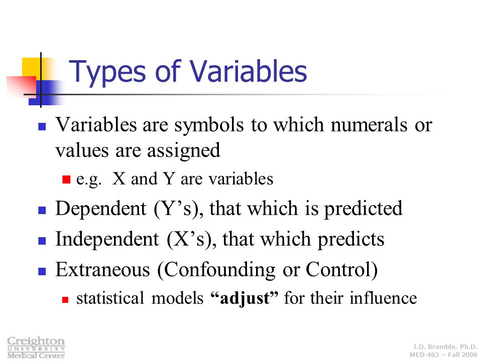 Types of Variables Variables are symbols to which numerals or values are assigned. e.g. X and Y are variables.