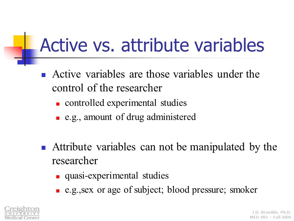Active vs. attribute variables