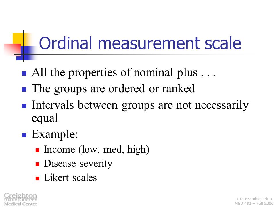 Ordinal measurement scale