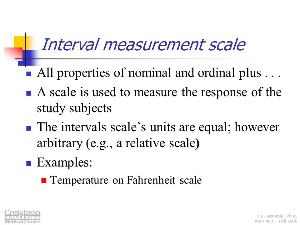 Interval measurement scale