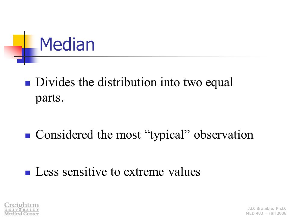 Median Divides the distribution into two equal parts.