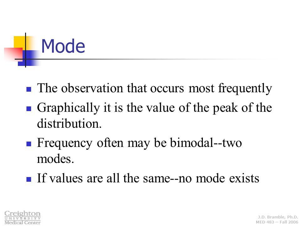 Mode The observation that occurs most frequently