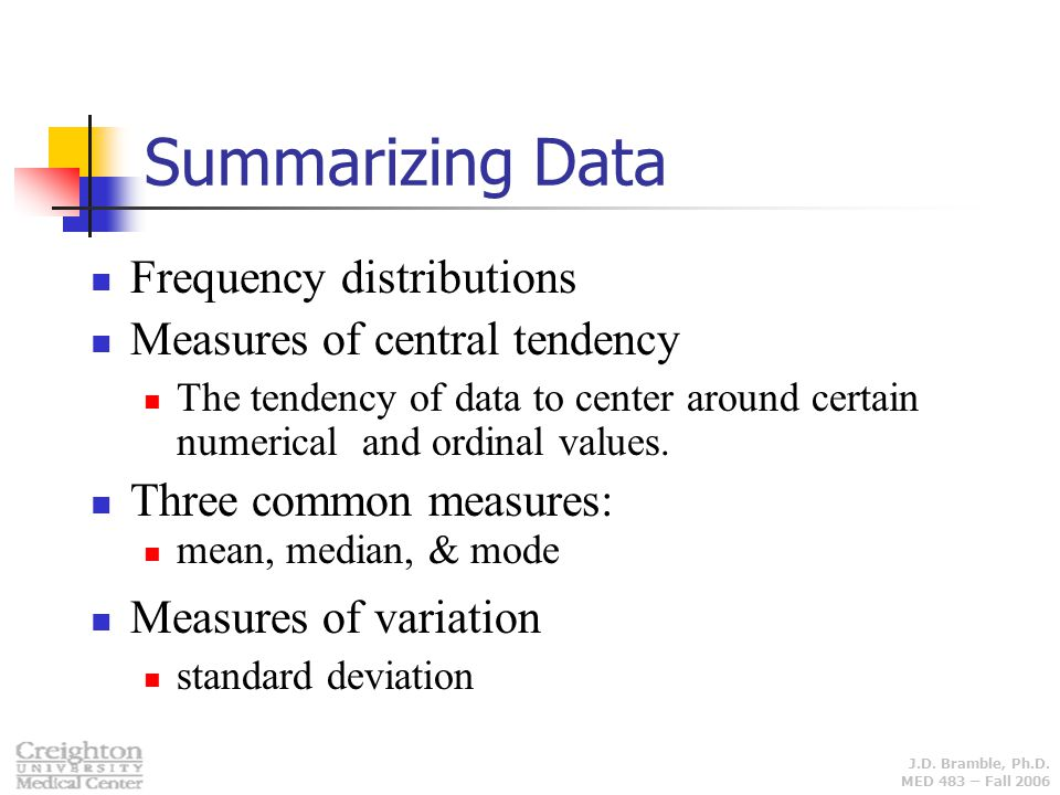 Summarizing Data Frequency distributions Measures of central tendency