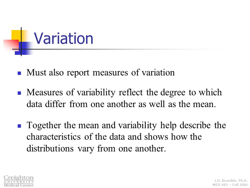 Variation Must also report measures of variation