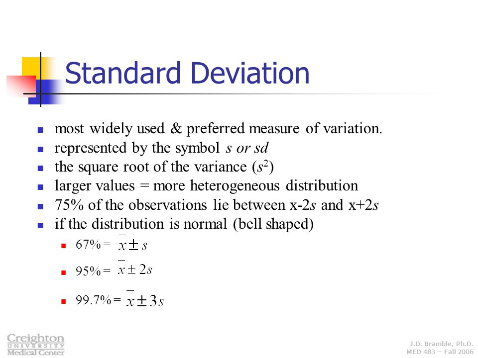 Standard Deviation most widely used & preferred measure of variation.