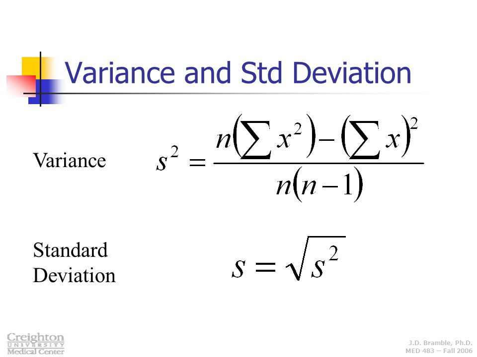 Variance and Std Deviation