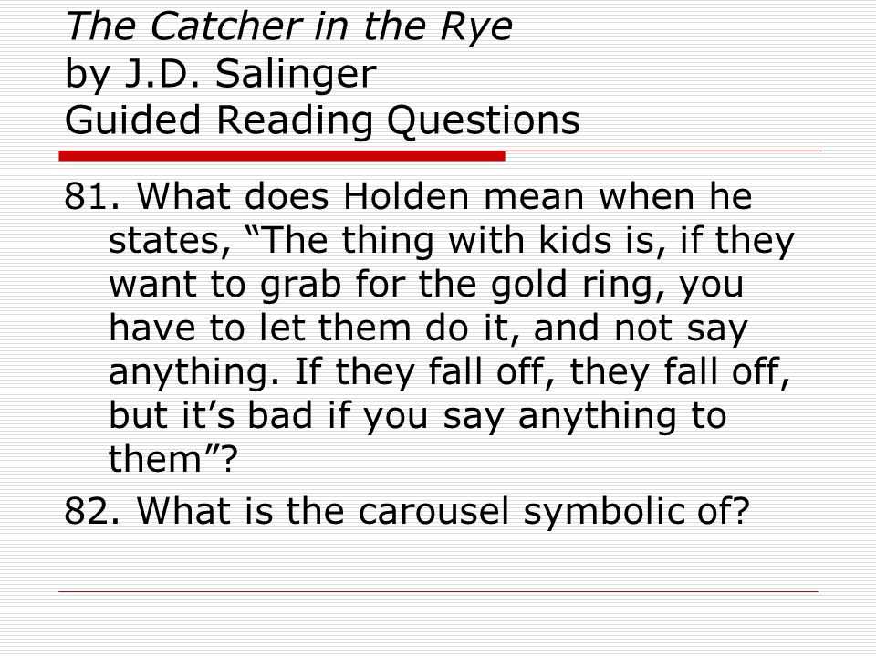 catcher in the rye setting analysis Litcharts assigns a color and icon to each theme in the catcher in the rye, which you can use to track the themes throughout the work kestler, justin the catcher in the rye chapter 6 litcharts litcharts llc, 22 jul 2013 web 18 oct 2018 kestler, justin the catcher in the rye chapter 6.