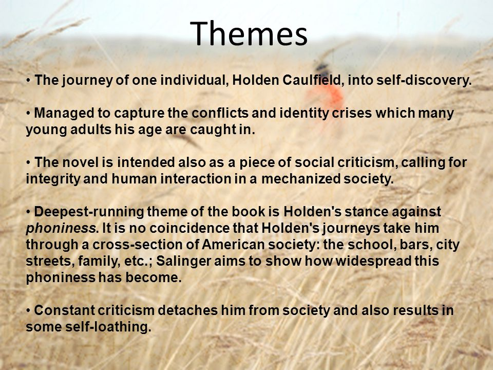 Themes The journey of one individual, Holden Caulfield, into self-discovery.
