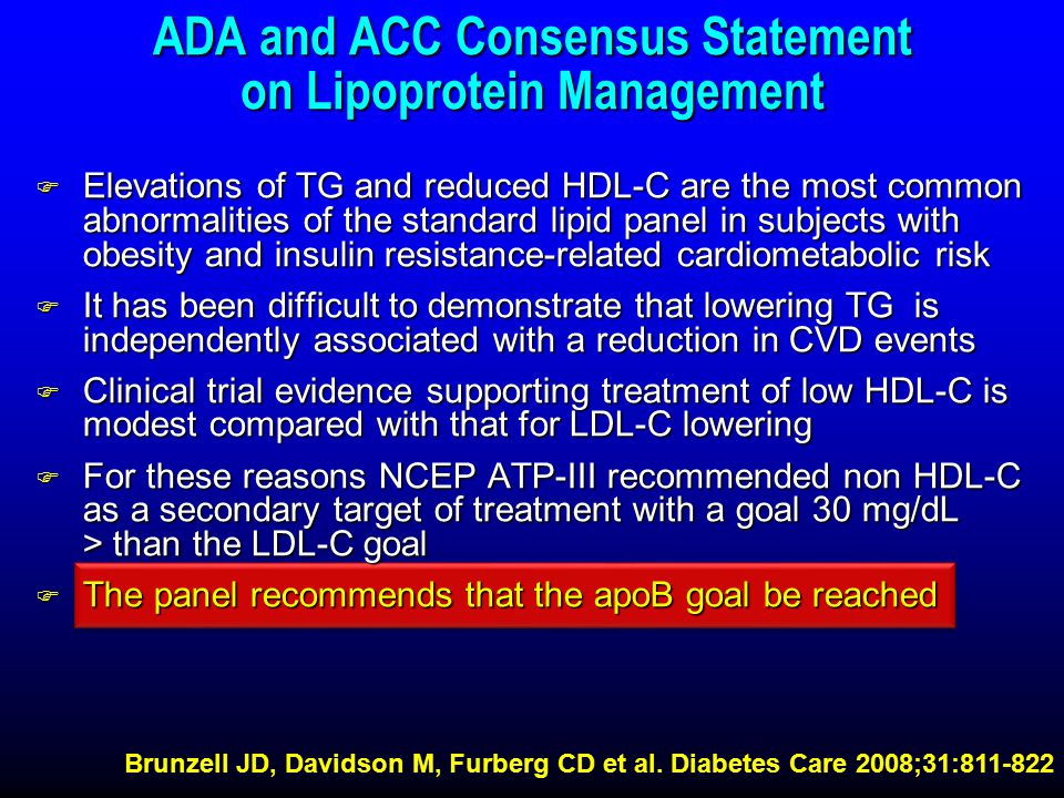 ADA and ACC Consensus Statement on Lipoprotein Management
