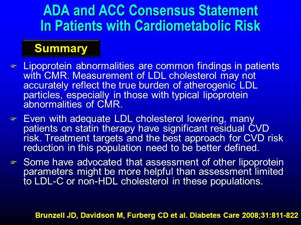 ADA and ACC Consensus Statement In Patients with Cardiometabolic Risk