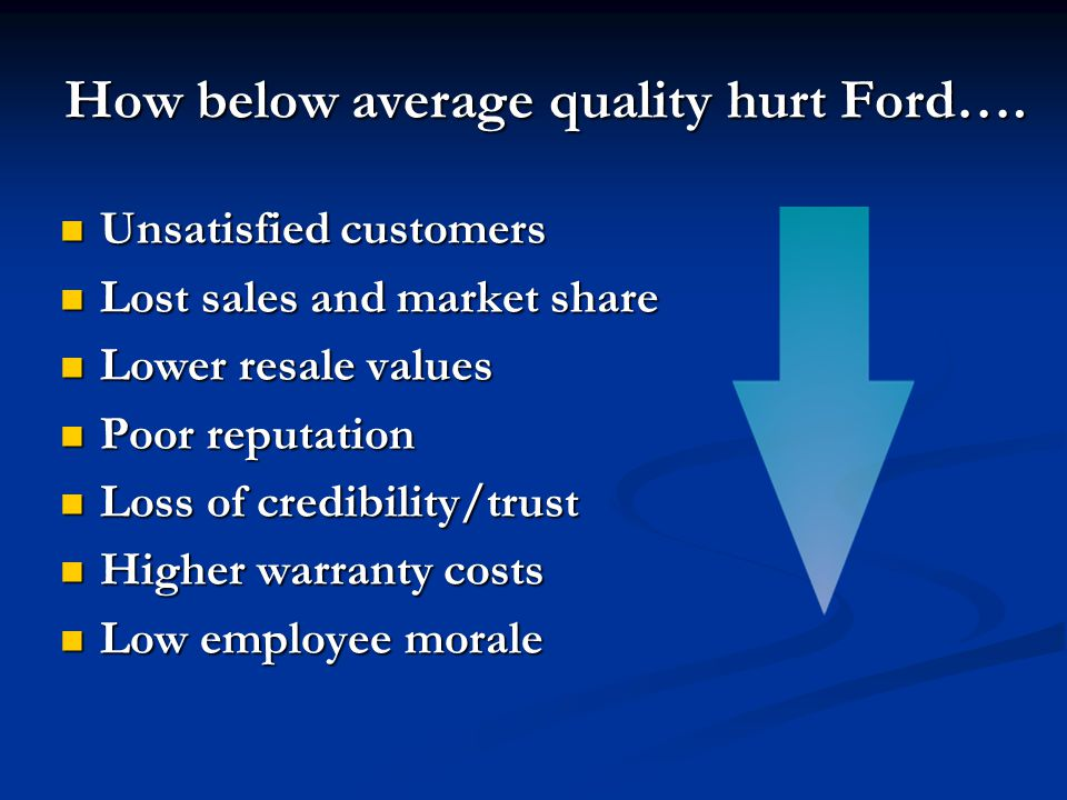 How below average quality hurt Ford….