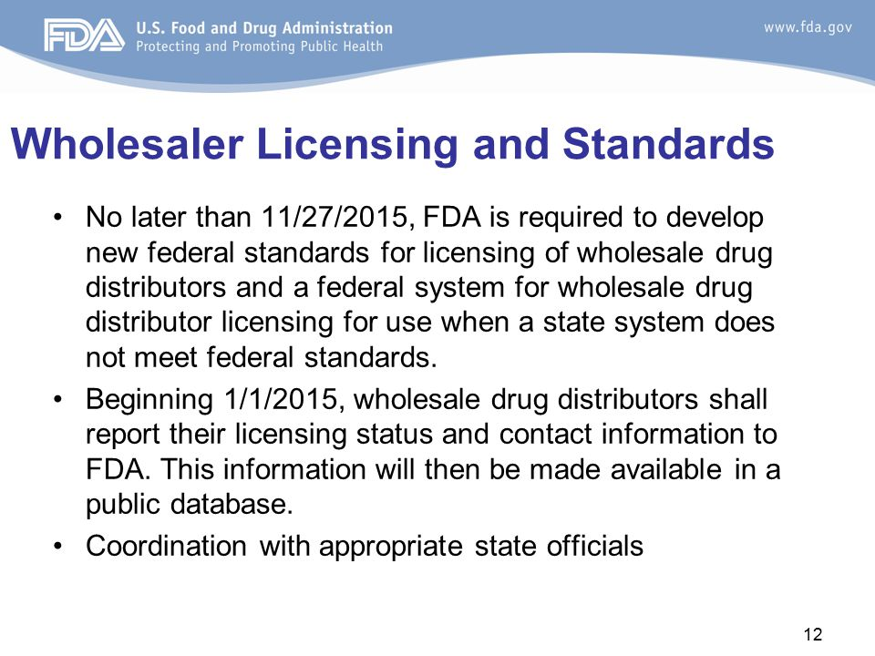 Wholesaler Licensing and Standards