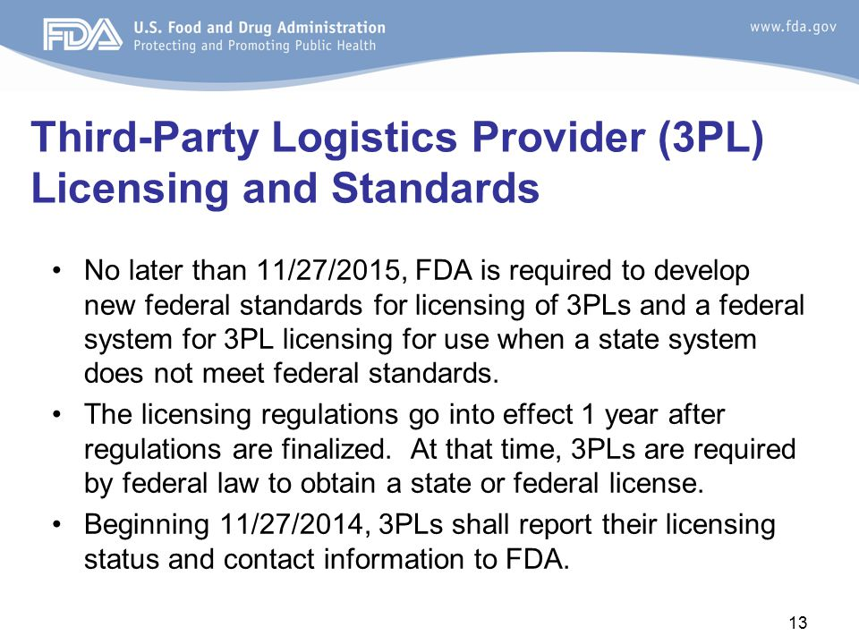 Third-Party Logistics Provider (3PL) Licensing and Standards