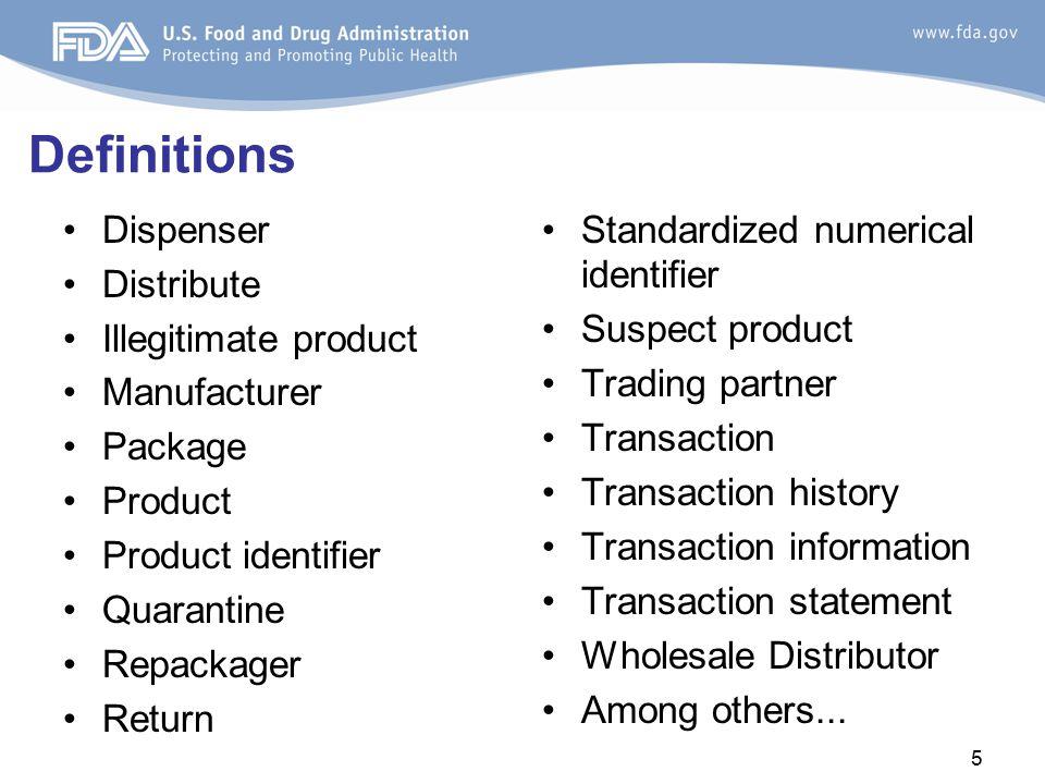 Definitions Dispenser Distribute Illegitimate product Manufacturer