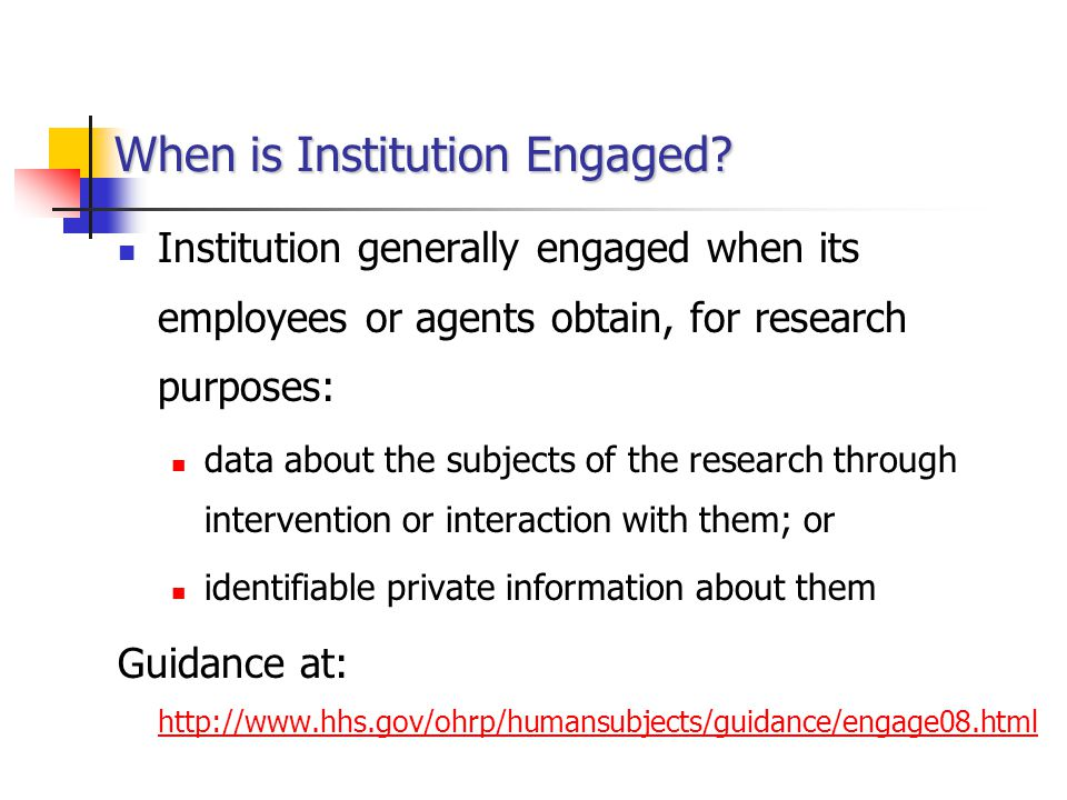 When is Institution Engaged