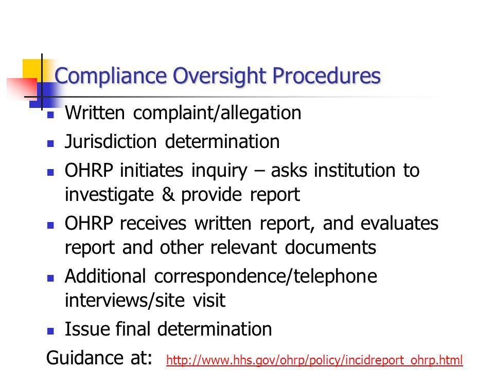 Compliance Oversight Procedures