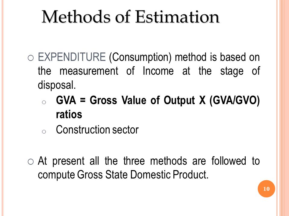 Methods of Estimation EXPENDITURE (Consumption) method is based on the measurement of Income at the stage of disposal.