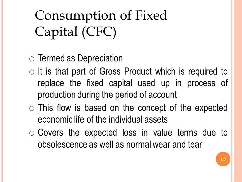 Consumption of Fixed Capital (CFC) Termed as Depreciation