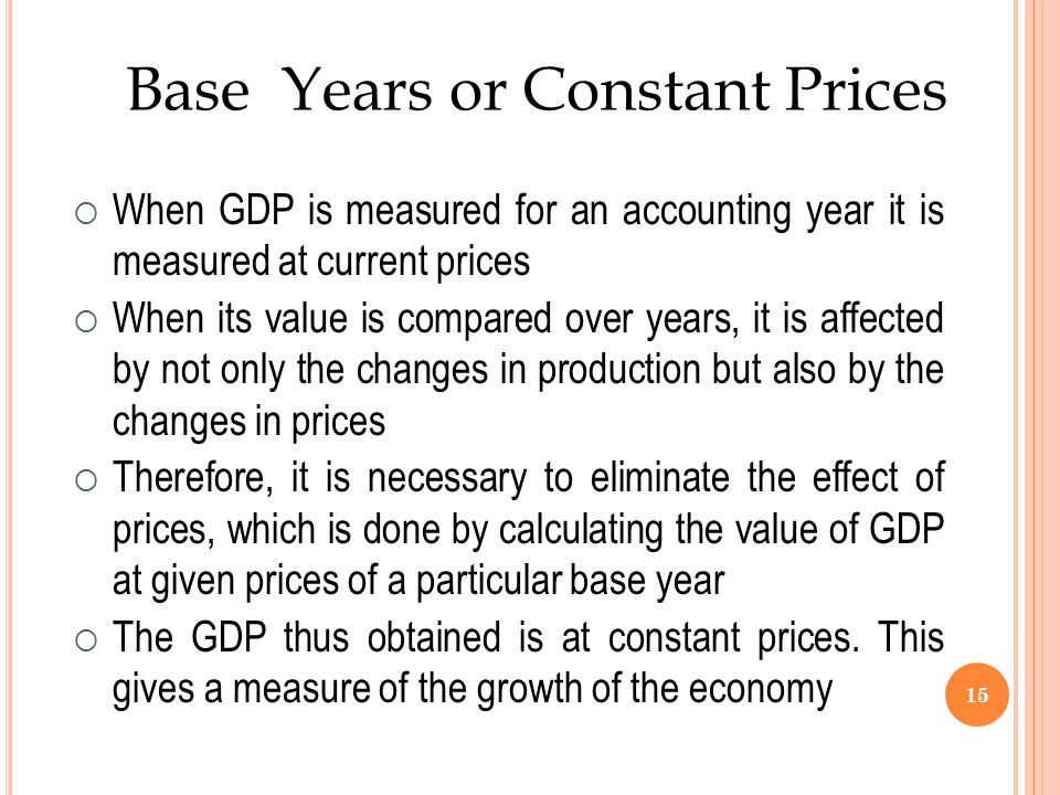 Base Years or Constant Prices