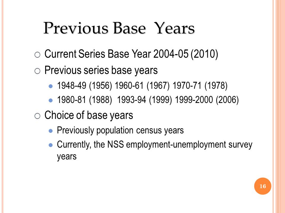 Previous Base Years Current Series Base Year 2004-05 (2010)