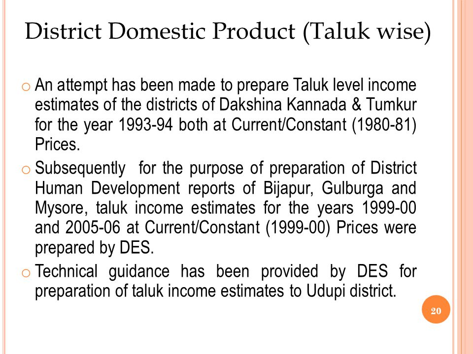 District Domestic Product (Taluk wise)