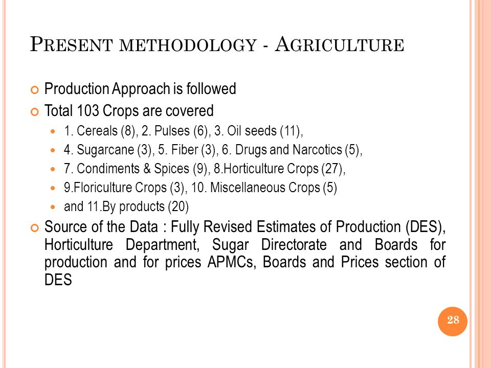 Present methodology - Agriculture